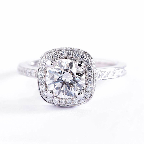 GIA Certified 0.70 Cts SI2 F Round Halo Diamond Engagement Ring Platinum