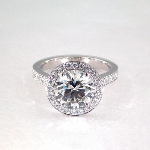 1.50 Cts SI2 F Round Classic Channel Look Halo Diamond Engagement Ring Platinum