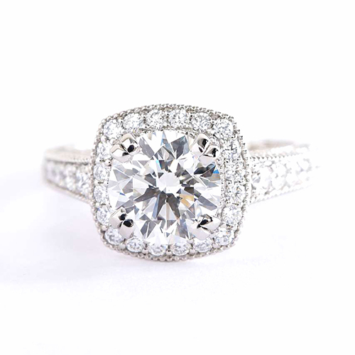 1 Cts SI2 H Round Cut Vintage Halo Diamond Engagement Ring 18K White Gold