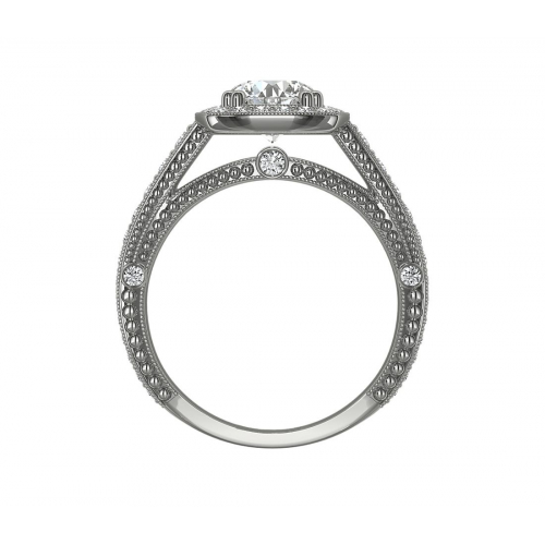 1.60 Cts SI2 H Round Cut Vintage Halo Diamond Engagement Ring 18K White Gold