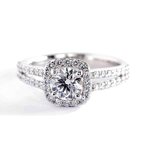 GIA Certified .50 Ct SI2 D Round Halo Diamond Engagement Ring 18K White Gold
