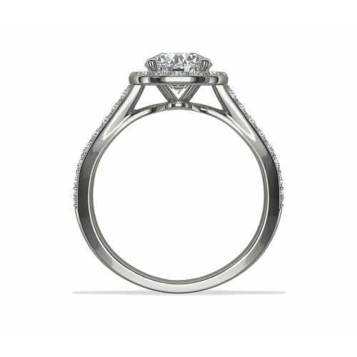 GIA Certified 1.10 Ct SI2 D Round Halo Diamond Engagement Ring 18K White Gold