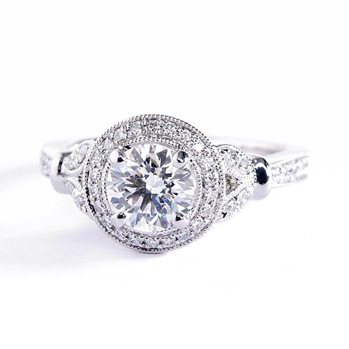 GIA Certified 0.70 Cts SI2 F Round Halo Diamond Engagement Ring 18K White Gold
