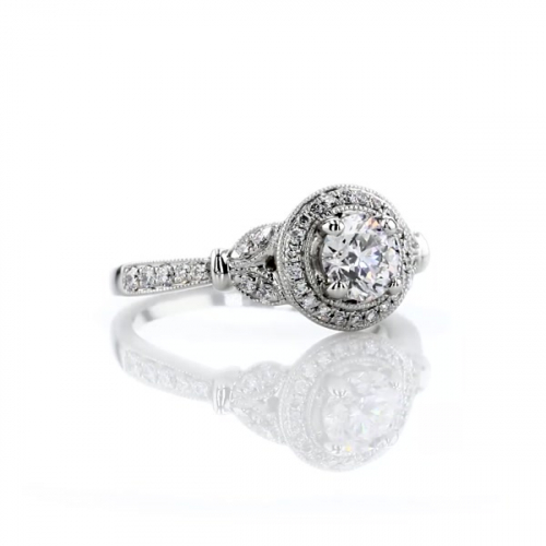 GIA Certified 1 Ct SI2 F Round Halo Diamond Engagement Ring 18K White Gold