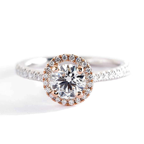 0.50 Cts SI2 H Round Cut 2 Tone Halo Diamond Engagement Ring 18K White Gold