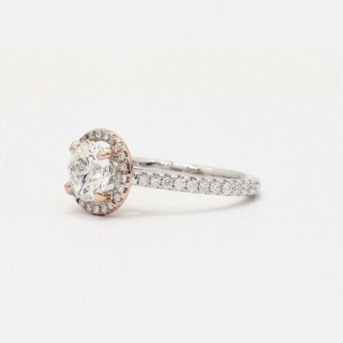 0.80 Cts SI2 H Round Cut 2 Tone Halo Diamond Engagement Ring 18K White Gold