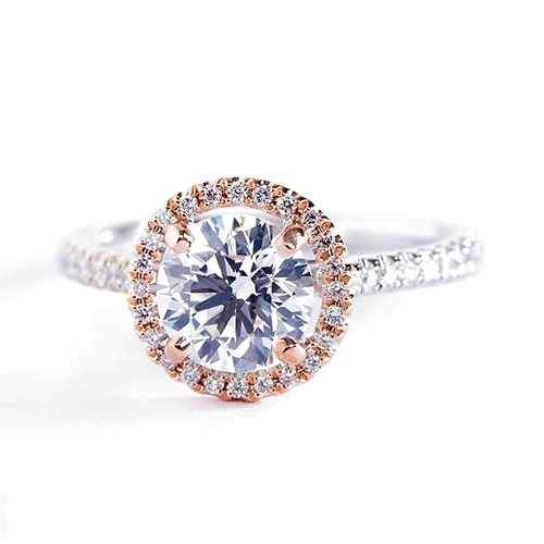 1.20 Cts SI2 D Round Cut 2 Tone Halo Diamond Engagement Ring 18K White Gold