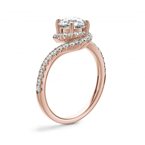 1.30 Cts SI2 F Round Brilliant Cut Swirl Halo Diamond Engagement Ring 18K Rose Gold