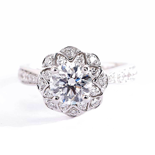 GIA Certified 0.90 Cts SI2 F Round Floral Halo Diamond Engagement Ring Platinum
