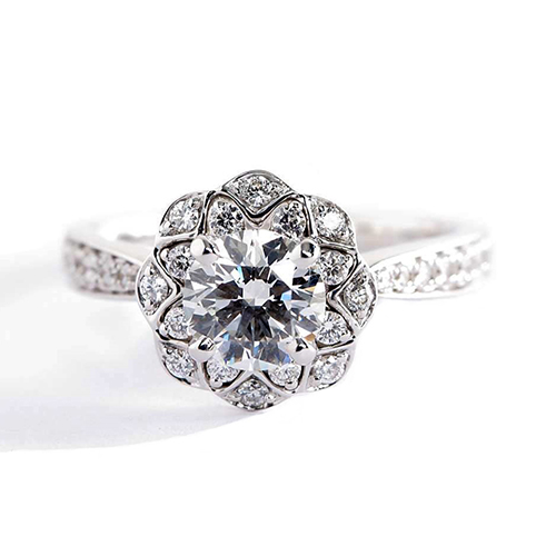 0.70 Cts SI2 D Round Brilliant Cut Floral Halo Diamond Engagement Ring Platinum
