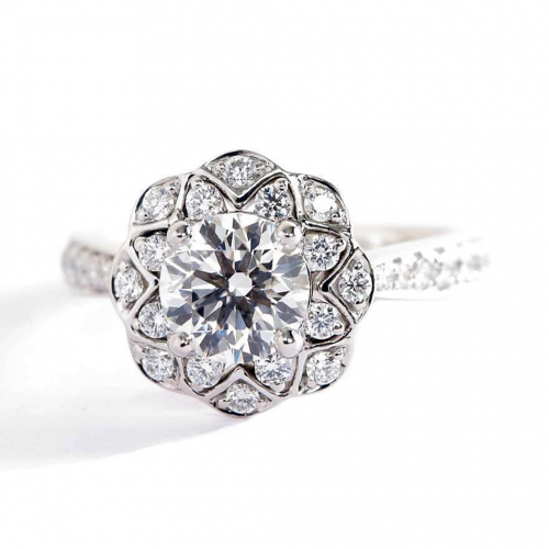 1.20 Cts SI2 F Round Cut Floral Halo Diamond Engagement Ring 18K White Gold