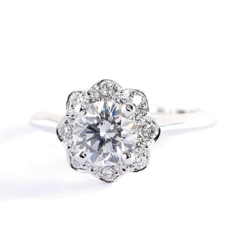 1 Cts SI2 F Round Cut Floral Halo Diamond Engagement Ring 18K White Gold