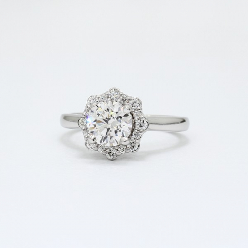 1.20 Cts SI2 D Round Brilliant Cut Floral Halo Diamond Engagement Ring Platinum