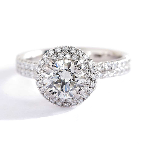 0.50 Cts SI2 H Round Cut Double Halo Diamond Engagement Ring 18K White Gold
