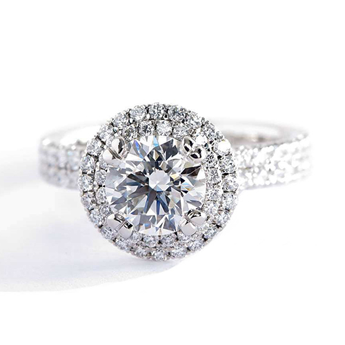 0.90 Cts SI2 F Round Cut Double Halo Diamond Engagement Ring 18K White Gold