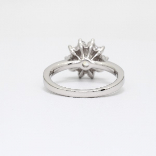 1.20 Cts SI2 D Round Cut Floral Halo Diamond Engagement Ring 18K White Gold