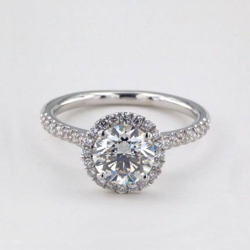 1 Cts SI2 F Round Brilliant Cut Classic Halo Diamond Engagement Ring Platinum