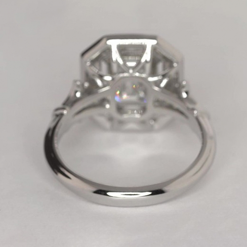GIA Certified 1.20 Ct VS2 H Emerald Cut Halo Diamond Engagement Ring 18K White Gold