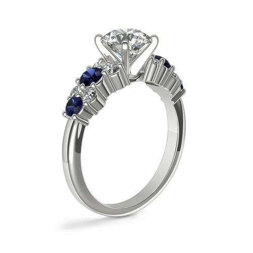 IGI Certified 1.50 Cts SI2 H Garland Sapphire Princess Diamond Engagement Ring 18K White Gold