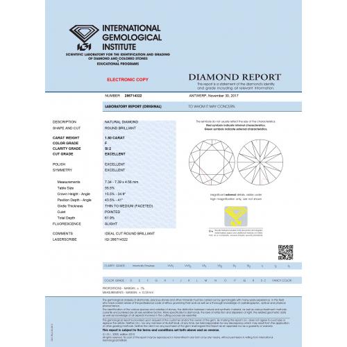 IGI Certified 1.80 Carats SI2 F Petite French Round Cut Diamond Engagement Ring Platinum
