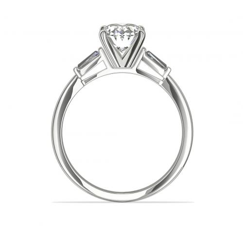 IGI Certified 1.10 Carats SI2 G Classic Oval Cut Diamond 3 Stone Ring 18K White Gold