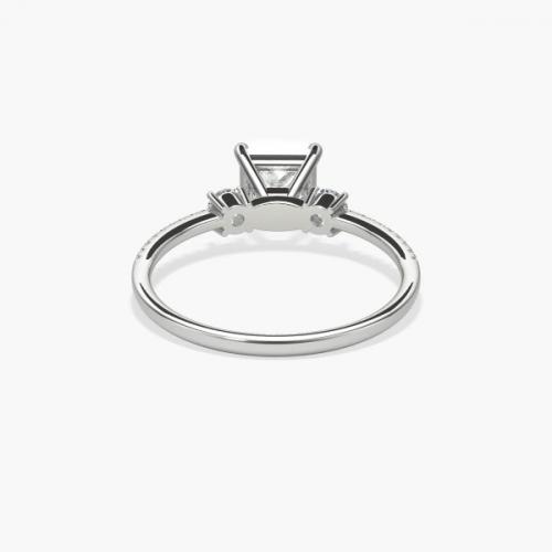 IGI Certified 1.41 Cts VS1 H 3 Stone Look Princess Cut Diamond Engagement Ring 18K White Gold