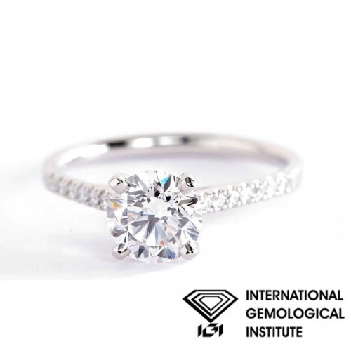 IGI Certified 1.10 Carats SI2 F Micro Pave Round Cut Diamond Engagement Ring 18K White Gold