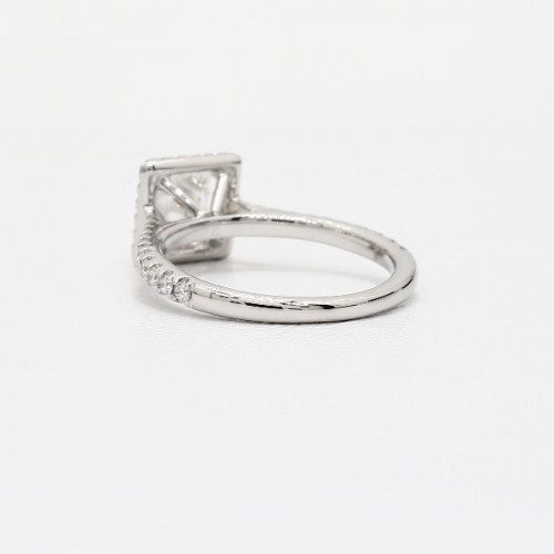 IGI Certified 1.41 Cts VS1 H Princess Cut French Pave Halo Diamond Engagement Ring 18K White Gold
