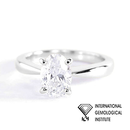 IGI Certified 0.90 Ct SI2 G Tapered Bow Style Oval Solitaire Diamond Engagement Ring 18K- Gold