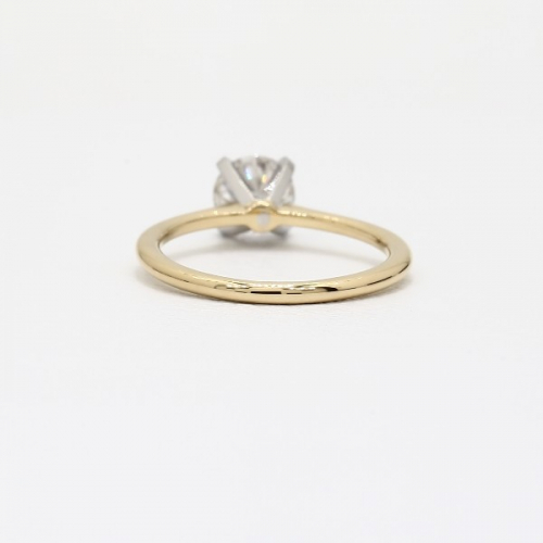IGI Certified 0.90 Ct SI2 D Petite Round Cut Solitaire Diamond Engagement Ring 18K-Yellow Gold