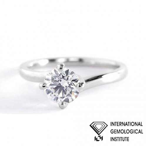 IGI Certified 0.90 Ct SI2 D Twist Prongs Round Solitaire Diamond Engagement Ring 18K- Gold