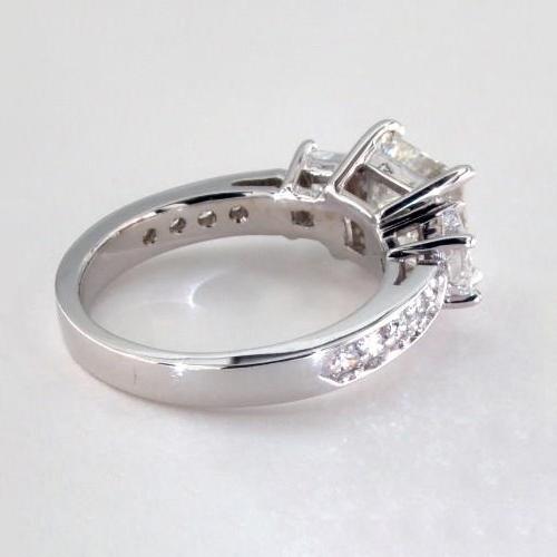IGI Certified 2.01 Cts VS1 H Princess 3 Stone Diamond Engagement Ring 18K-White Gold