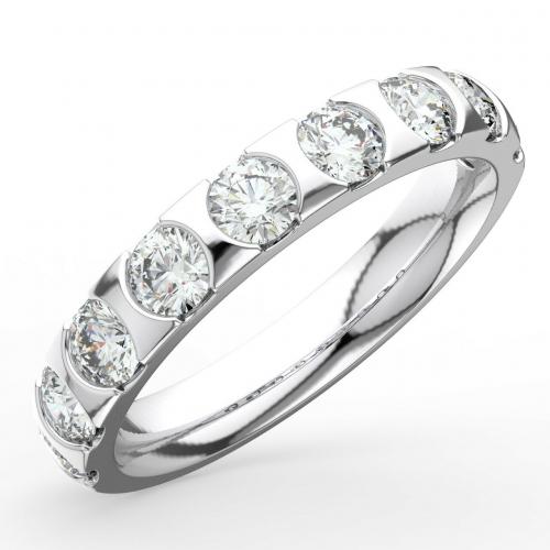 1.50 Carats VS/F Round Cut Half Eternity Wedding Ring in Platinum 950