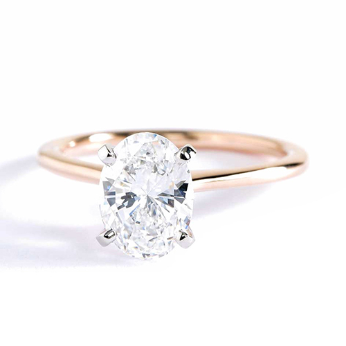 1 Carat VS2 D Petite Oval Cut Solitaire Diamond Engagement Ring 18K-Rose Gold