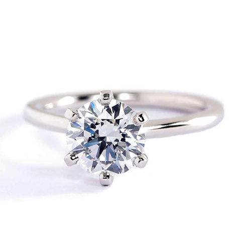 0.90 Carat SI2 F Petite Round Cut Solitaire Diamond Engagement Ring Platinum