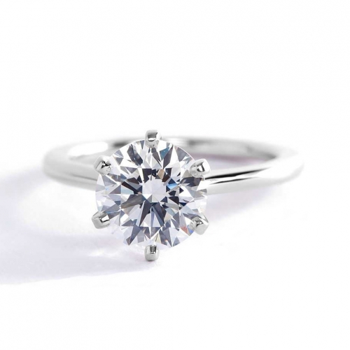 1.50 Carats SI2 F Petite Round Cut Solitaire Diamond Engagement Ring Platinum