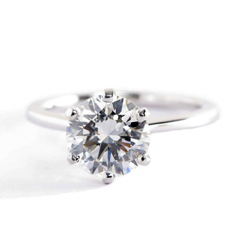 1.50 Carats SI2 H Petite Round Cut Solitaire Diamond Engagement Ring Platinum