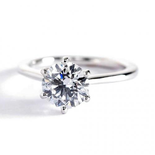 1 Carat SI2 F Petite Round Cut Solitaire Diamond Engagement Ring Platinum