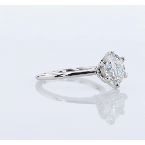 1 Carat SI2 F Petite Round Cut Solitaire Diamond Engagement Ring Platinum