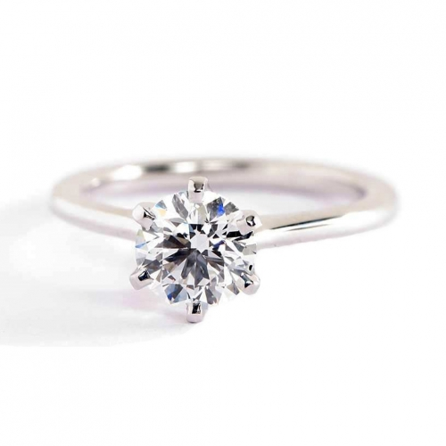 GIA Cert 0.50 Ct SI2 F Petite Round Solitaire Diamond Engagement Ring Platinum