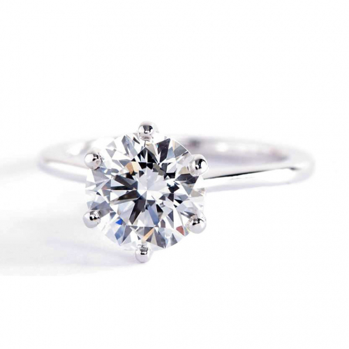 1.50 Cts VS2 F Petite Round Cut Solitaire Diamond Engagement Ring 18K-White Gold
