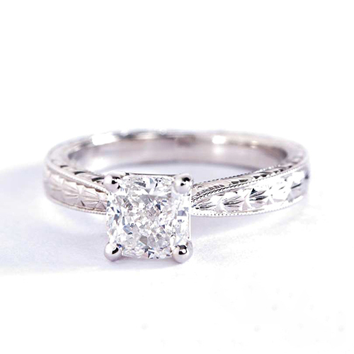 0.70 Ct SI2 D Hand Engraved Cushion Solitaire Diamond Engagement Ring 18K- Gold