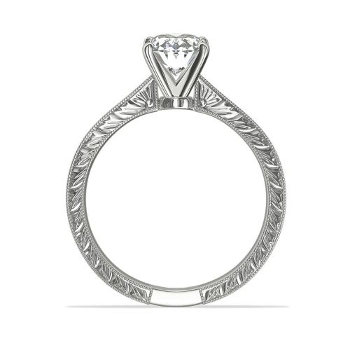 0.90 Ct SI2 D Hand Engraved Oval Solitaire Diamond Engagement Ring 18K- Gold