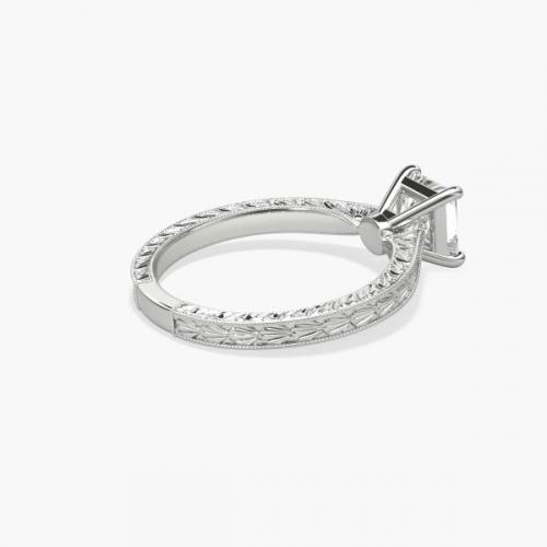 0.90 Ct VS2 F Hand Engraved Princess Solitaire Diamond Engagement Ring Platinum