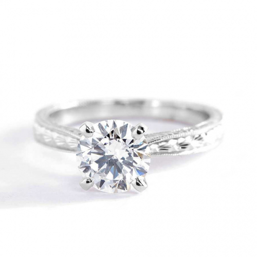 1 Ct SI2 F Hand Engraved Round Solitaire Diamond Engagement Ring 18K-White Gold
