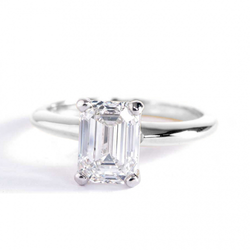 1 Ct SI1 F Classic Emerald Solitaire Diamond Engagement Ring 18K-White Gold