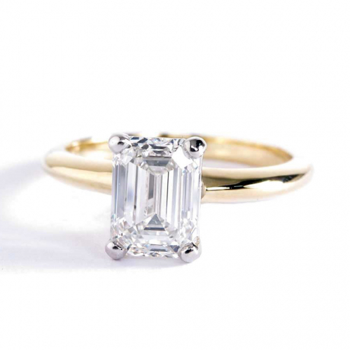 1 Ct VS2 H Classic Emerald Solitaire Diamond Engagement Ring 18K-Yellow Gold