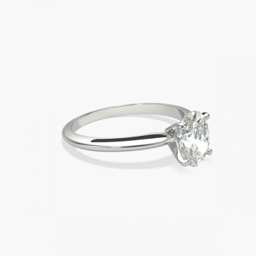 1 Carat SI2 D Classic Oval Cut Solitaire Diamond Engagement Ring Platinum