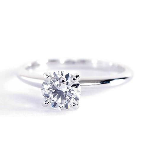 GIA Cert 0.50 Ct SI1 D Classic Round Solitaire Diamond Engagement Ring Platinum