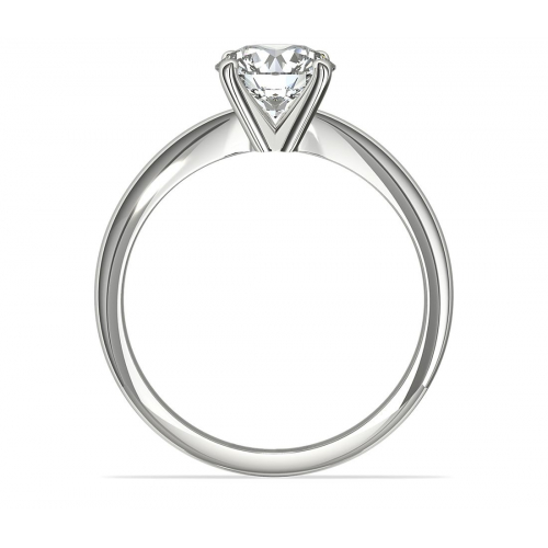 0.90 Ct SI1 F Classic Round Cut Solitaire Diamond Engagement Ring 18K-White Gold